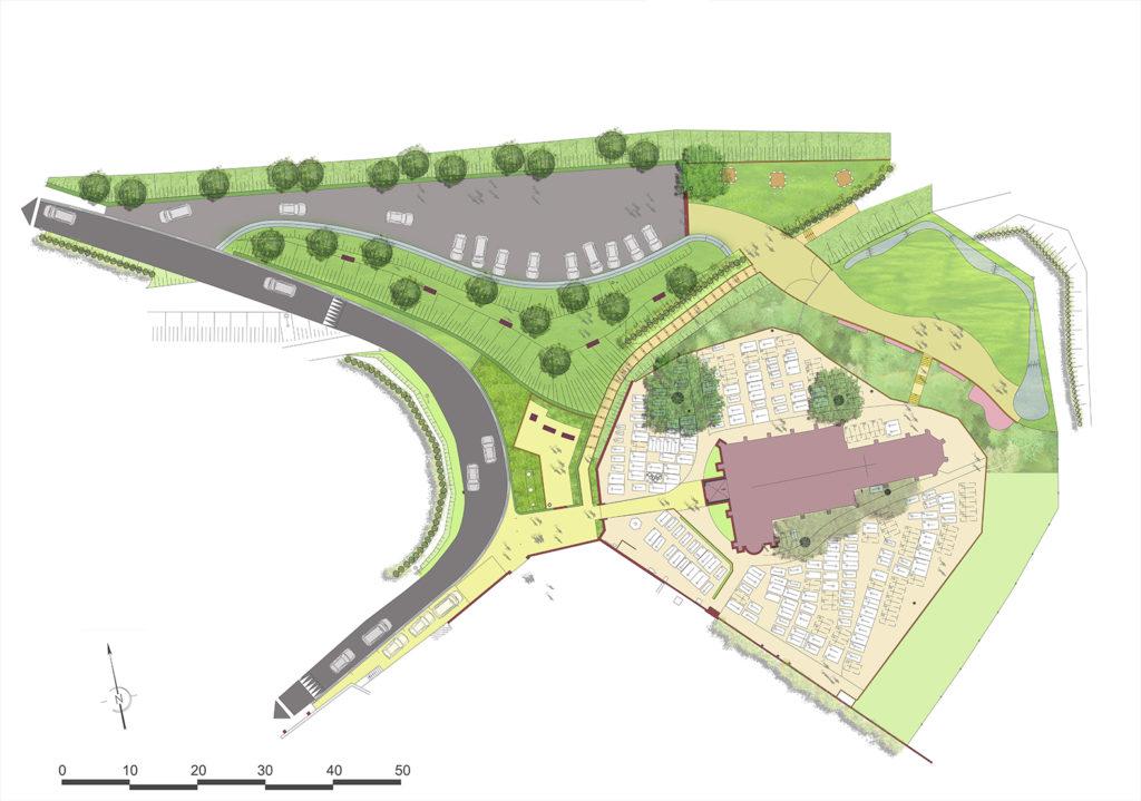 Présentation du projet des abords de l'église, extension du cimetière de Reux